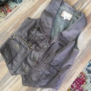 Brown Vest with Leather Detail